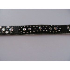 Black Leather Belt w/ Clear Crystals